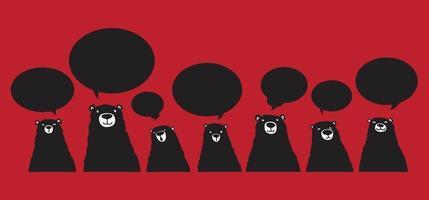orso nero discorso bolla illustrazione personaggio dei cartoni animati set vettore