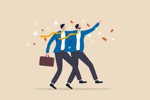 fusione e acquisizione, la società si unisce alla forza o alla partnership che lavora insieme per nuove opportunità e successi, uomini d'affari che si fondono insieme celebrando e ambiziosi per un futuro luminoso. vettore