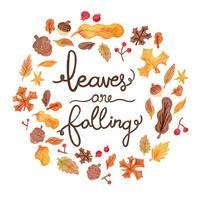 Elementi svegli di autunno dell'acquerello che cadono con iscrizione vettore