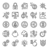 set di icone pixel di criptovaluta vettore