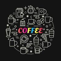 lettere sfumate colorate di caffè con set di icone vettore
