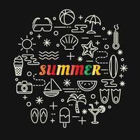 scritte sfumate colorate estive con set di icone vettore