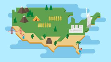 Infographics turistico circa l'illustrazione dell'America