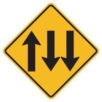 segnali di pericolo tre corsie stradali su sfondo bianco vettore