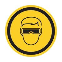 simbolo indossare occhiali di protezione segno isolato su sfondo bianco, illustrazione vettoriale eps.10
