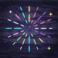 simbolo al neon di raggi di luce vettore