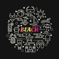 lettering gradiente colorato spiaggia con icone di linea vettore