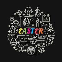scritte colorate sfumate di Pasqua con icone di linea vettore