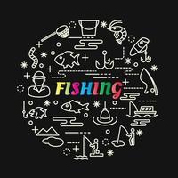 pesca lettere sfumate colorate con icone di linea vettore
