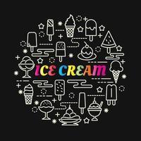 lettering gradiente colorato gelato con icone di linea vettore