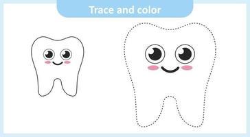 traccia e colore del dente vettore