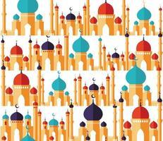 bellissimo modello di design islamico. seamless di moschee in stile piatto. biglietto di auguri, banner, copertina o poster di ramadan kareem. vettore