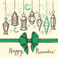 illustrazione di ramadan kareem con lanterna e fiocco. stile disegnato a mano. vettore