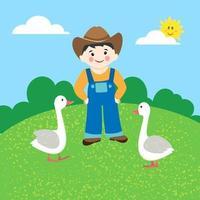 contadino con oche. illustrazione vettoriale in stile cartone animato. paesaggio rurale