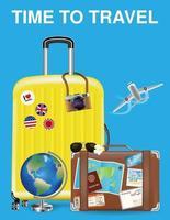 tempo di viaggiare con borsa e oggetto di viaggio del mondo vettore