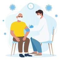 un medico che vaccina un uomo anziano. fermare la pandemia covid-19. vettore