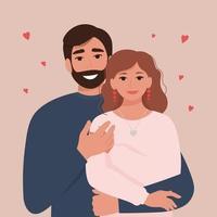 ritratto di una coppia felice innamorata - un uomo e una donna. celebrazione del giorno di San Valentino. illustrazione vettoriale in stile piatto