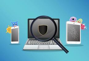 laptop, smartphone e tablet. scansione per trovare un computer con virus vettore
