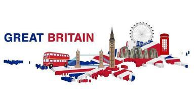 Gran Bretagna con punti di riferimento e icone dell'Inghilterra vettore