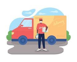 lavoratore afro di consegna sicura vettore