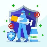 concetto di iniezione di vaccino contro il coronavirus vettore