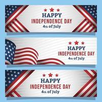 felice giorno dell'indipendenza set di banner vettore