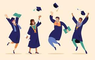 studenti felici che celebrano la laurea vettore
