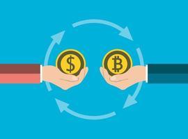 business coin concept.exchange monete dollaro in bitcoin a mano in mano illustratore di vettore