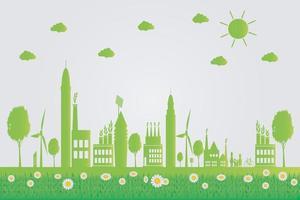 ecologia, città verdi aiutano il mondo con idee di concetti ecologici. illustrazione di vettore