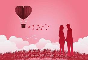 palloncini di San Valentino a forma di cuore che volano su sfondo vista erba, in piedi mano nella mano, mostrando amore gli uni agli altri. stile di arte della carta. illustratore vettoriale