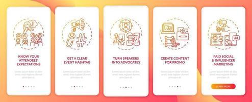 Suggerimenti per il marketing di eventi remoti per l'onboarding della schermata della pagina dell'app mobile con concetti vettore