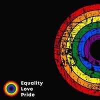 uguaglianza amore orgoglio slogan lgbt. poster colorato con texture grunge. illustrazione vettoriale