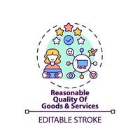 icona del concetto di qualità di beni e servizi ragionevoli