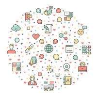Progettazione stabilita di vettore dell'icona di media sociali
