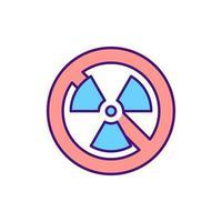 nessun segno di radiazioni icona di colore rgb vettore