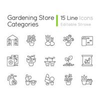 set di icone lineari di categorie di negozio di giardinaggio vettore
