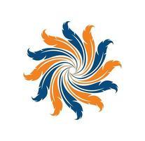 segno di logo di rotazione della piuma vettore