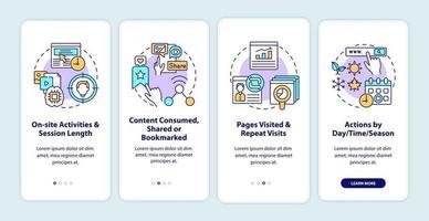analisi del comportamento degli utenti onboarding schermata della pagina dell'app mobile con concetti vettore