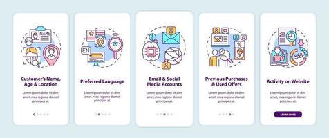componenti di analisi dei contenuti intelligenti, criteri di onboarding della schermata della pagina dell'app mobile con concetti vettore