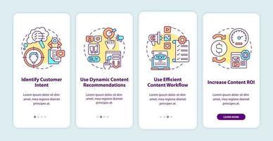 suggerimenti per la creazione di contenuti intelligenti per l'inserimento nella schermata della pagina dell'app mobile con concetti vettore