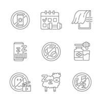 set di icone lineare di motivi di insonnia