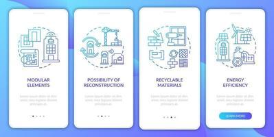 futuro spazio di lavoro che costruisce la schermata della pagina dell'app mobile onboarding con concetti vettore
