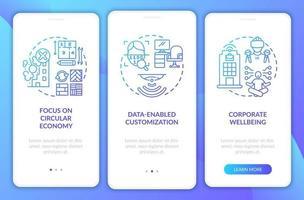 progettazione futura dello spazio di lavoro onboarding schermata della pagina dell'app mobile con concetti vettore