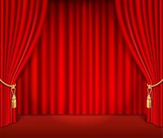 illustrazione vettoriale di sfondo rosso sipario teatrale.