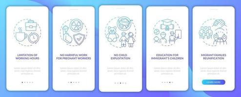 schermata della pagina dell'app mobile di onboarding della marina dei diritti dei lavoratori migranti con concetti vettore