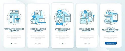 categorie di spazzatura elettronica nella schermata della pagina dell'app mobile con concetti vettore