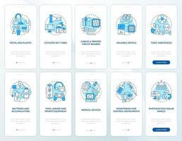 Schermata della pagina dell'app mobile di onboarding del riciclaggio dei rifiuti elettronici con i concetti impostati vettore
