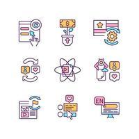 set di icone di colore rgb contenuto intelligente vettore