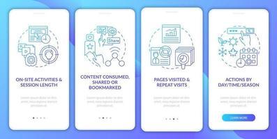 analisi del comportamento degli utenti nella schermata della pagina dell'app mobile di onboarding con concetti vettore