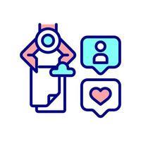 icona di colore rgb di ottimizzazione dei contenuti dei social media vettore